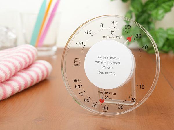 メッセージ入れ対応のアナログ温湿度計